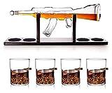 Classic M16 Gun Set Large Decanter Set Bullet Gafas, Exquisito Decantador de whisky de rifle de 1000 ml con 4 gafas de whisky de bala y base de madera de mohogany, con conjunto de cuentas de limpieza,