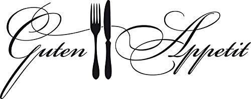 GRAZDesign Wandtattoo Küche Guten Appetit mit Besteck Küchen-Aufkleber für Wände, Schränke, Fliesen, Möbel für Restaurant und Bars (76x30cm//070 schwarz)