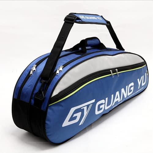 IPENNY Super Groß Badminton-Rucksack 800D Nylon Wasserdicht Tragbar Badminton Schläger Tasche Große Kapazität Sporttasche für 6 Schläger Multifunktion Umhängetasche Blau