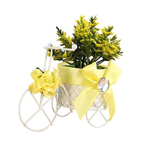 Healifty Triciclo Canasta de Flores Blanco Bicicleta Florero Contenedor de Almacenamiento Flor de Plástico Artesanía Adorno para Boda Fiesta Dormitorio Decoración Mesa Centro de Mesa (Color Aleatorio)