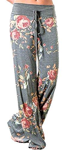 X-Image Women's Pajamas Comfy Pajama Lounge Pants Floral Print Drawstring Wide Leg Palazzo Pants Light Grey, X-Large