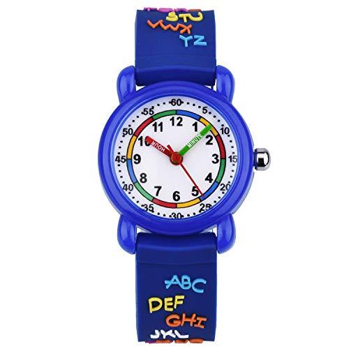 KZKR Orologio ragazza ragazzo pedagogico Orologio bambino sport orologio bambino tempo di apprendimento Insegnante in silicone KW128 Blue Letter Pattern