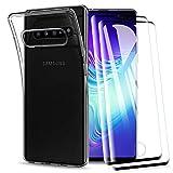 KEEPXYZ Funda para Samsung Galaxy S10 5G + 2 Pcs Protector de Pantalla para Cristal Templado, Flexible Suave Silicona Transparente TPU Antigolpes Carcasa + Vidrio Templado para Samsung Galaxy S10 5G