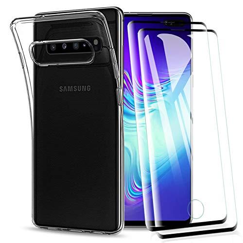 KEEPXYZ Hülle für Samsung Galaxy S10 5G handyhülle + 2 Pcs Panzerglas für Galaxy S10 5G Bildschirmschutz, Transparent TPU Silikon Hülle Schutzhülle Durchsichtig + Bildschirmschutzfolie für Samsung S10 5G