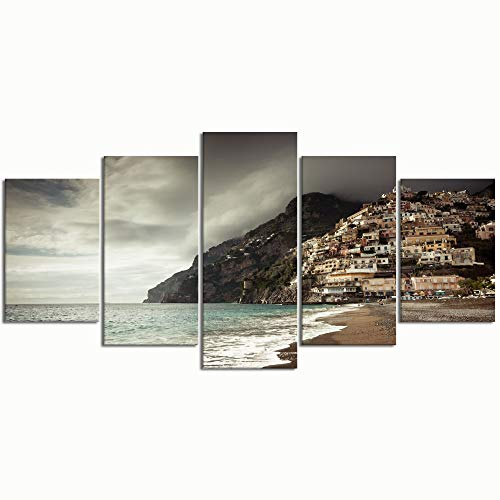 PENGTU Paintings Modern Canvas Painting Wall Art Pictures 5 Pieces,Positano Coast Italy Clouds,Wall Decor HD Printed Posters Frame