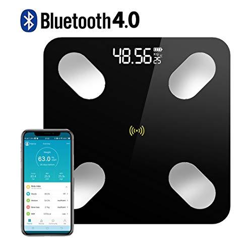 TECHVIDA Bluetooth Balanza de Grasa Corporal Digital Bluetooth 4.0 Inalámbrica Inteligente,59 datos Relacionados Analizador de Composición Compatible con las Aplicaciones de IOS y Android, Gerente de Peso P