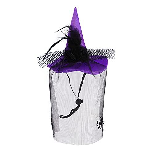 ASSR Disfraz de Halloween con velo, gorro de bruja para mascotas, Halloween, disfraz de Halloween, disfraz de mascotas, accesorios de fotos, color morado