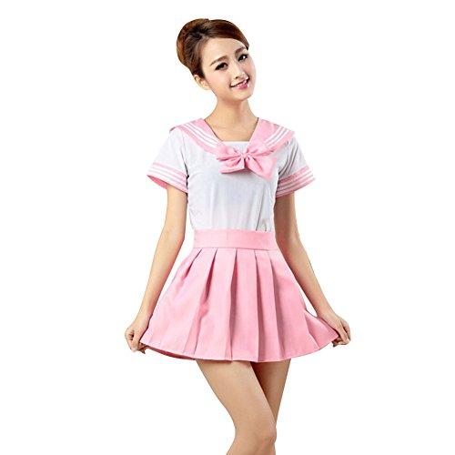 YFCH Uniforme de Escolar Japones para Mujer Disfraz de Cosplay Anime Traje de Marinero Halloween, Rosado, M