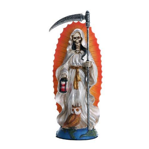 Santa Muerte Saint of Holy Death Standing Religious Statue 7.25 Inch White Tunic Purification Santisima Muerte Sculpture