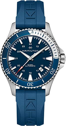 Hamilton H82345341 Khaki Navy Scuba Auto Reloj de los hombres azul banda de goma