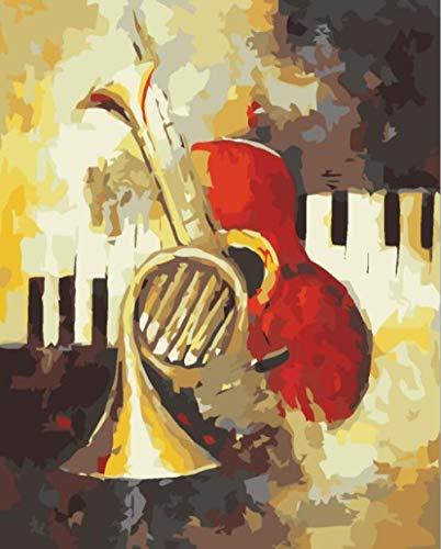 DAFFG Malen Nach Zahlen DIY Ölgemälde Klavier Und Geige - Für Kinder Erwachsene Anfänger- Katze Oder Tiger 40X50Cm Leinwanddruck Wandkunst Dekoration