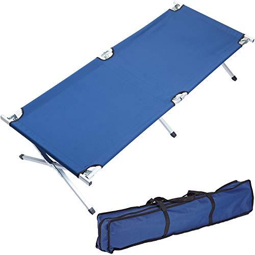 Skandika Feldbett XXL Bequeme Campingliege 210x80cm (blau)
