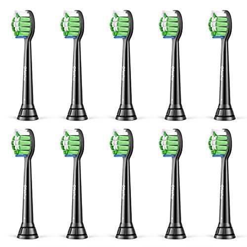 Cabezales de Recambio Negro para Sonicare DiamondClean c2 c3 w2 g3 10 Piezas Cabezales de Repuesto Compatible con Philips Sonicare Cepillo de Dientes Eléctricos ProtectiveClean FlexCare EasyClean
