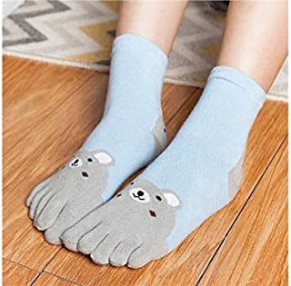 Lovely Socks Children Cotton Mesh Socks Kids Autumn and Winter Five Finger Socks Mid Tube Socks(Red) Newborn Sock (Color : Grey)