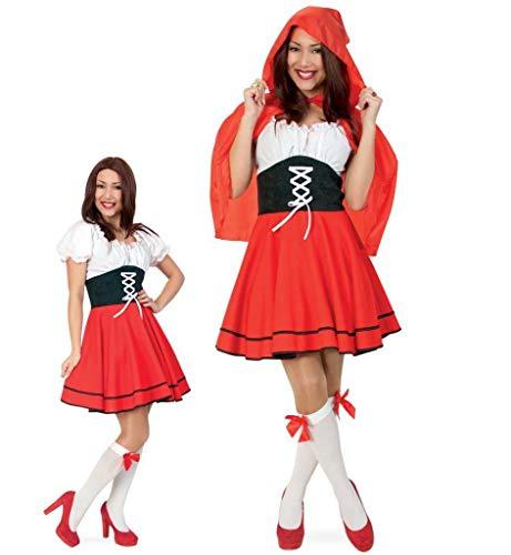 KarnevalsTeufel Kostüm Rotkäppchen Kleid mit Cape Red Riding Hood Märchenkostüm (40)