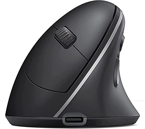 Seenda, mouse ergonomico senza fili, ricaricabile, multi-Device verticale (BT3.0 5.0 2.4GHZ), mouse Bluetooth per laptop, PC, Smart TV Mac Tablet iPad, colore: nero
