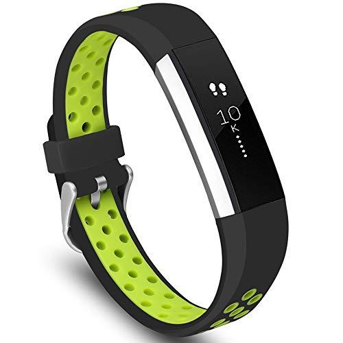 KINOEHOO Cinturino Compatibile con Fitbit Alta HR Cinturini di Ricambio in Silicone.(Nero-verde)