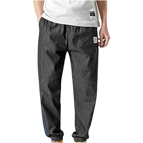 Herrenhose Fashion Solid Color Kordelzug Hose mit weitem Bein Klassische Twill Relaxed Fit Work Wear Kampfsicherheit Cargohose M-3XL(XL,Schwarz)
