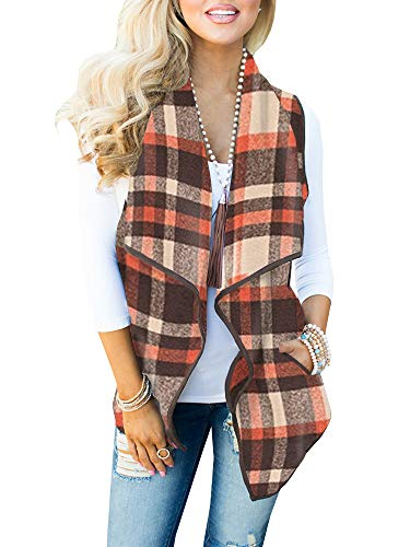 Womens Vest Jackets Sleeveless Cardigans Drape Front Long Plaid Cardigan with Pockets (XX-Large, 02-Brown and Orange)