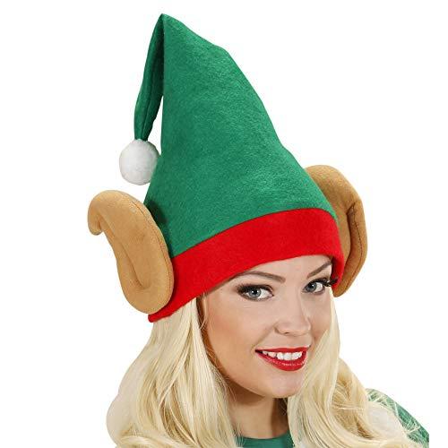 WIDMANN- Piccolo Aiutante di Babbo Natale Elfo Cappello Adulto, Multicolore, 5374E
