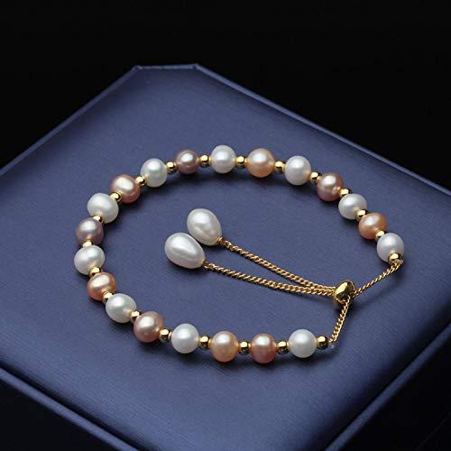 shenlanyu Pulsera de perlas de Coloful natural hermosa pulsera de perlas de agua dulce clásica pulsera de perlas redondas regalo de novia