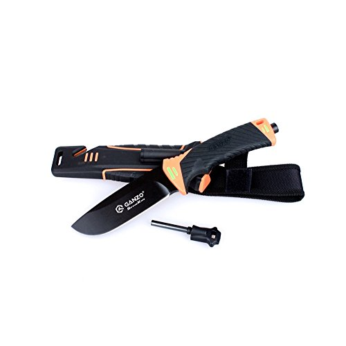 Ganzo Messer G8012 Outdoormesser, 8CR13-Stahl, Drop Point, Gurtschneider, Feuerstein, Bushcraft, Farbe:orange