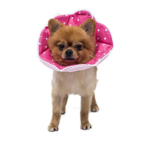WZPET Adjustable Dog Cat Cone,Soft Recovery Cat Cone Collar,Dog Protective Collar for Cats and Puppy Surgery,Pink,Small