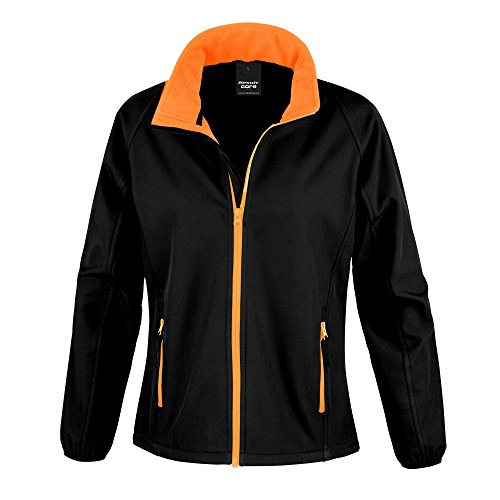 Result Core Damen Softshell-Jacke, bedruckbar (Medium) (Schwarz/Orange)