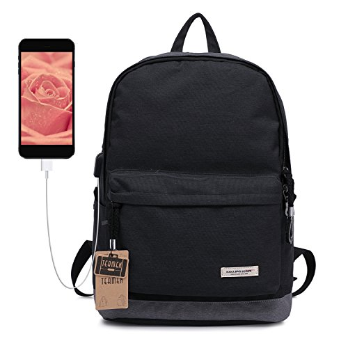 Kinderrucksack mit USB Ladeanschluss TEAMEN Teenager Wasserdicht Daypacks for Schule und Outdoor, Schulrucksack Rucksack geeignet für 15 Zoll Laptop (schwarz)