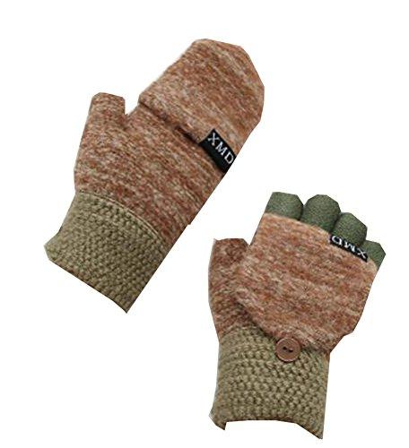 Jolie Gants Flip Laine Finger Brown Keep Warm Lors de l'écriture (10-15 Ans)