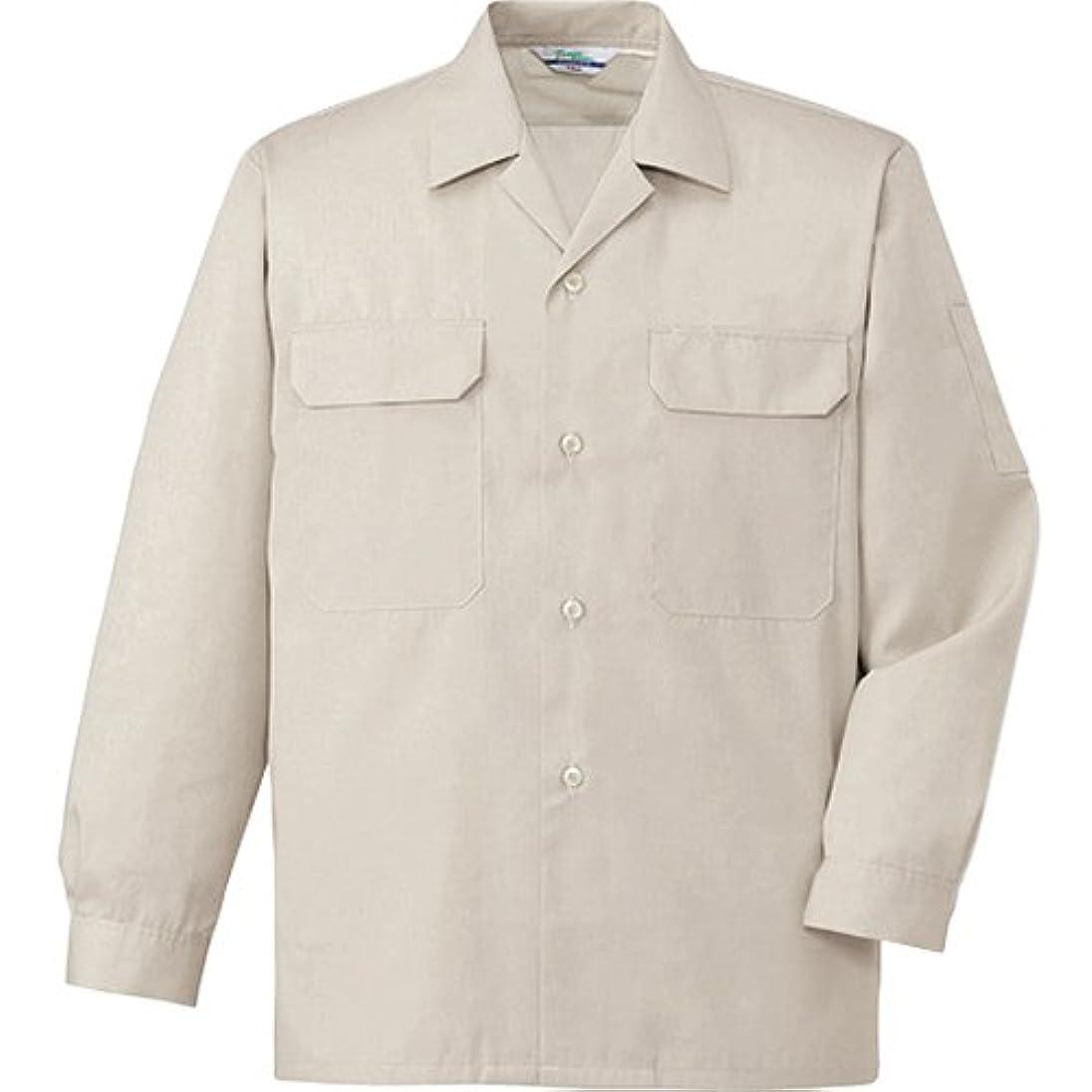 吸い込む委託再現する[自重堂] 長袖オープンシャツ 大きいサイズ 004/ベージュ 6055