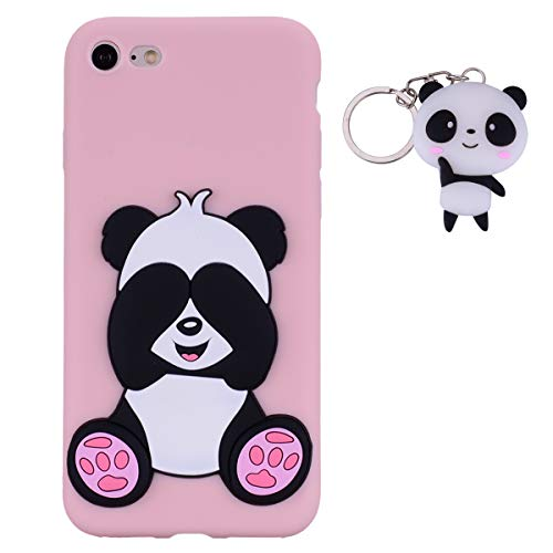 HopMore Panda Cover per iPhone 8 / iPhone 7 Silicone Morbide Disegni 3D Divertenti Gomma Morbido Custodia iPhone 8 / iPhone 7 Antiurto Protettiva Case Caso Molle con Portachiavi - Rosa