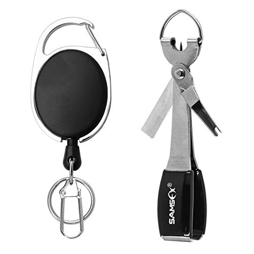 SAMSFX Fishing Quick Knot Tying Tool New 4 in 1 Fly Line Clippers with Zinger Retractor Combo (Silver)