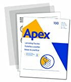 Apex Standard Laminating Pouches, Letter Size for 3ml Setting, 100 Per Pack (5242601)