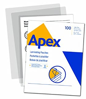 Apex Standard Laminating Pouches, Letter Size for 3ml Setting, 100 Per Pack (5242601) (B00FPB8KZ6) | Amazon price tracker / tracking, Amazon price history charts, Amazon price watches, Amazon price drop alerts
