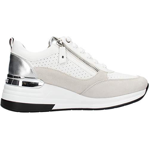 Keys K-1002 Sneaker Woman White, Scarpe Casual Stringate da Donna + Cerniera (Numeric_36)