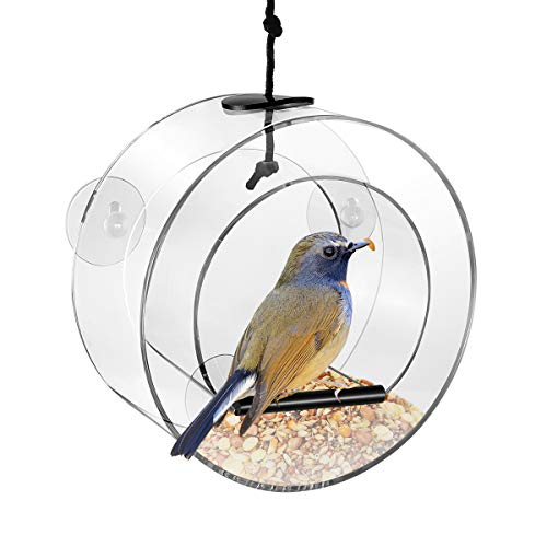 POPETPOP Window Bird Feeder Clear Acrylic Round Bird Feeder with Drain Holes & Suction Cups