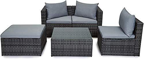 Muebles de patio al aire libre, jardín de ratán sofá tabla, marrón,Grey