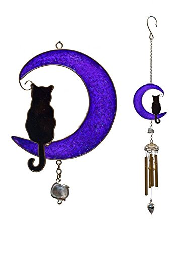 Black Cat On Purple Moon Stained Glass Style Windchime Large 80cm