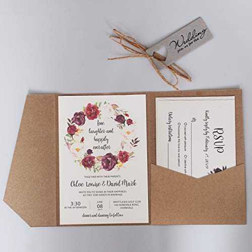 Rustic Wedding Invitation Envelopes Kraft Paper Pocket Wedding Invites DIY Wedding Invitations Blank - Set of 50pcs