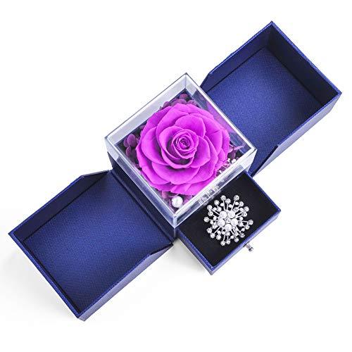 SANRAN - Caja de joyería con diseño de flores conservadas con caja de joyería para cumpleaños, día de la madre, día de San Valentín, aniversario y compromiso (amor puro)