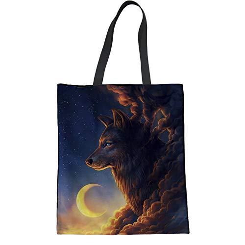 HUGS IDEA Einkaufstasche aus Segeltuch, Motiv: Wolf, Mond, Sternenhimmel, umweltfreundlich, wiederverwendbar
