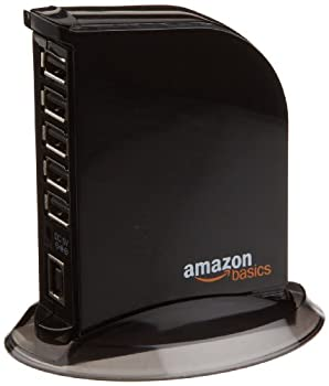 Amazon Basics 7 Port USB 2.0 Hub Tower with 5V/4A Power Adapter