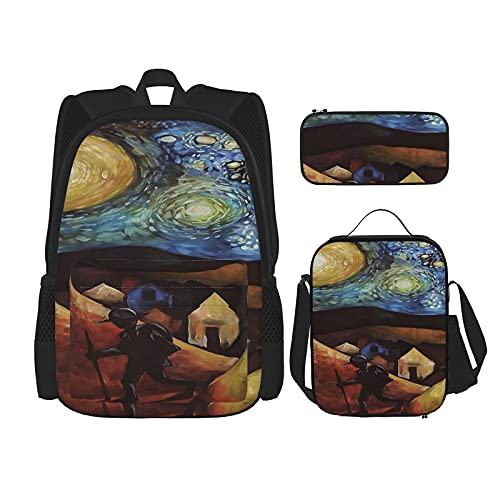 Wayfarer Moon - Mochila escolar de 3 piezas, bolsa escolar + estuche + bolsa de almuerzo con impresión 3D, lona para viajes y acampada