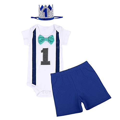 FYMNSI Conjunto de 3 piezas para beb de 1 ao, de algodn, con pajarita de manga corta, pelele + pantalones cortos + corona para la cabeza, disfraz para sesiones de fotos Azul real 04 1 Aos