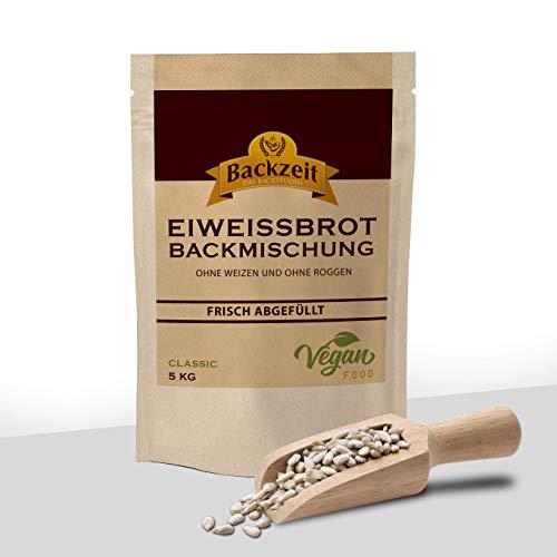 Eiweißbrot Backmischung Classic ohne Weizen und Roggenmehl - frisch abgefüllte 5kg XXL Vorratspackung in Deutschland hergestelltes Diabetikerbrot mit 90 % weniger Kohlenhydraten als Brot
