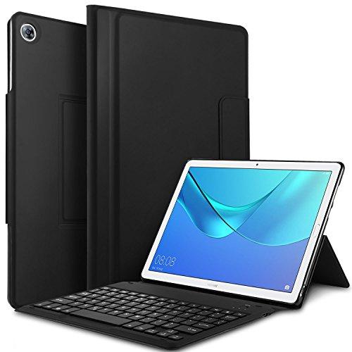 IVSO Tastatur Hülle für Huawei MediaPad M5 10.8, Nicht abnehmbar Tastatur Schutzhülle für Huawei MediaPad M5 10.8 Pro / M5 10.8 Zoll 2018 Modell Tablet (QWERTZ Deutsches Layout), Schwarz
