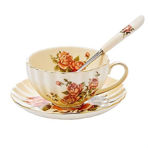 Panbado Set di Tazza e Piattino Bone China Tazzine da caffè Tazze da tè Servizi da caffè Mugs in Porcellana Coffee Cup, Set 1 Pezzi 1 Tazza, 1 Piattino, 1 Cucchiao, 300ml, Fiore Bianca