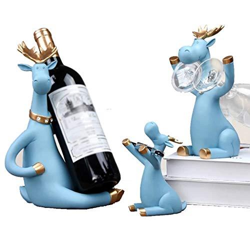Bierhalter Deer Miniaturfiguren Stehen Whisky Rotwein Flaschenhalter Schrank Für Wein Wohnkultur Weinschrank TV-Schrank Dekoration (3 Stück) (Color : Blue)
