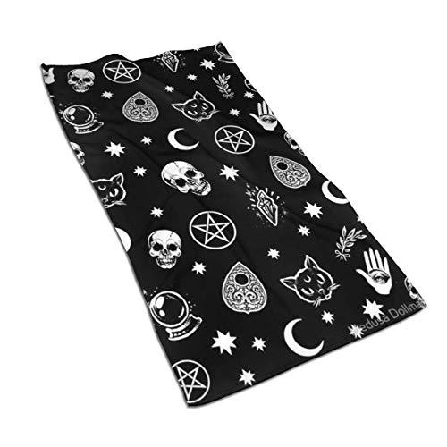 Toallas de cocina con patrón gótico de calavera de gato, luna, 17,5 x 27,5 cm, toallas de microfibra para secar platos y derrames, toallas de plato para decoración de tu cocina